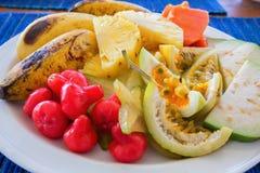 Плита с экзотическими friuts Стоковое Фото