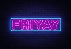 Friyay霓虹灯广告传染媒介 Friyay霓虹标志,设计模板,现代趋向设计,夜霓虹牌,明亮的夜 免版税图库摄影