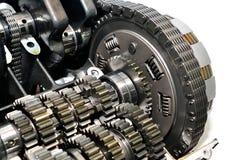 Frizione del motociclo con la catena e gli ingranaggi di azionamento Fotografie Stock
