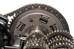 Frizione del motociclo con la catena e gli ingranaggi di azionamento Fotografia Stock