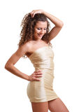 Frizzy woman in the cocktail dress Royalty Free Stock Image