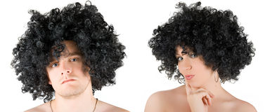 Frizzy woman and man Stock Photography