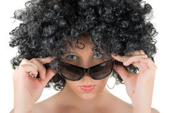 Frizzy woman with sunglasses Stock Photo