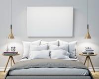 Förlöjliga upp den tomma affischen på väggen av sovrummet, bakgrund för illustration 3D Fotografering för Bildbyråer