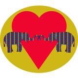 Förälskade elefanter och hjärta Arkivbild