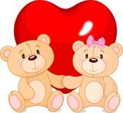 Förälskade nallebjörnar Arkivfoto
