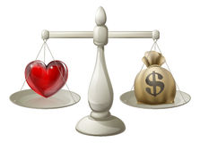Förälskelse- eller pengarbegrepp Arkivbilder