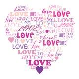 Förälskelse i ordcollage som komponeras i hjärtaform Royaltyfri Bild