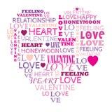 Förälskelse i ordcollage som komponeras i hjärtaform Arkivfoto