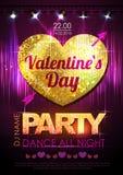 Förälskelsehjärtabakgrund Valentine Disco parti Arkivfoton