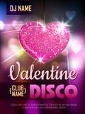 Förälskelsehjärtabakgrund Valentine Disco parti Arkivfoto