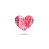 Förälskelsehjärtakort Blyertspennateckningen skissar hjärtasymbolen som över isoleras Arkivfoton