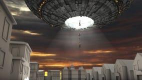 Främmande rymdskeppkidnappning Arkivfoto
