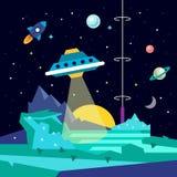 Främmande utrymmeplanetlandskap med ufo Arkivbilder