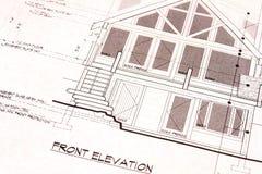 främre husplan för ritningar Royaltyfri Fotografi