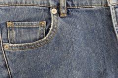 främre jeansfack Arkivfoto