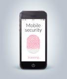 Främre sikt av den smarta telefonen för svart med det mobila säkerhetsfingeravtrycket Arkivbild