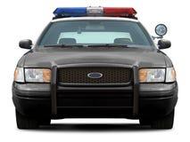 Främre sikt för polisbil Arkivfoto