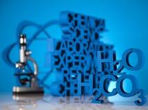Fórmula de la ciencia de la química, cristalería de laboratorio Imagen de archivo libre de regalías