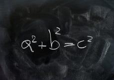 Fórmula de la solución del triángulo del teorema de Pitágoras Imagen de archivo