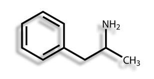 Fórmula estructural de la anfetamina Imágenes de archivo libres de regalías