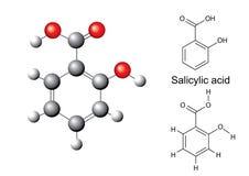 Fórmulas químicas y modelo estructurales del ácido salicílico Foto de archivo libre de regalías