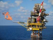 Frånlands- konstruktionsplattform för produktionfossila bränslen, fossila bränslenbransch och hårt arbete, produktionplattform oc Royaltyfri Bild