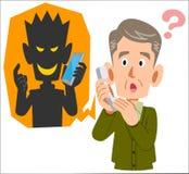 Frode del telefono ed uomo senior probabilmente da ingannare illustrazione vettoriale