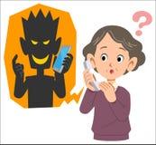 Frode e donna senior probabilmente da ingannare facendo uso del telefono illustrazione di stock