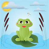 Frog. Illustration.For postcards and childrens sites Stock Photo