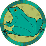 Frog. Decorative frog with stars in a circle Stock Photos