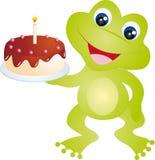 Frog. With cake isolated ob white background. Vector illustration royalty free illustration