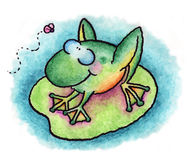 The frog. A whimsical frog eyes a fly while resting on a lily pad royalty free illustration