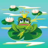 The frog. Image of a fairy frog in the pond with lilies Stock Image
