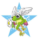 Frog. With wings against the background star Stock Photos