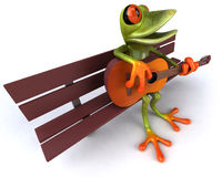 Frog. Cute little frog looking at the camera, 3D generated royalty free illustration