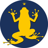 Frog. Fantastic tsarevna a frog. Bright frog with a crown on a dark blue round background Royalty Free Stock Images