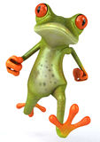 Frog. Cute little frog running, 3D generated royalty free illustration