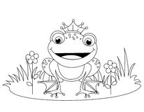 Frog. Coloring book illustration of a cute little happy frog prince with a crown stock illustration