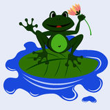 Frog art 1. A green frog sits on a water lily and holds a flower in the paw Stock Photos
