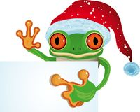 Frog as Santa stock illustration