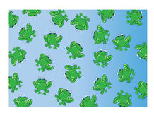 Frog background. A lot of frogs on blue background Royalty Free Stock Photography