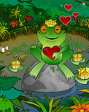 Frog on a background of a bog. Frog prince on a background of a bog with heart Royalty Free Stock Photo