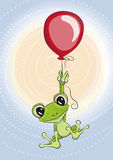 Frog with balloon Stock Images