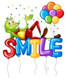 Frog and balloons for word smile vector illustration