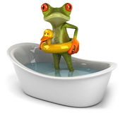 Frog in a bath. Cute little frog looking at the camera, 3D generated Stock Photos