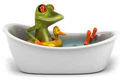 Frog in a bath. Cute little frog, 3D generated Stock Photo