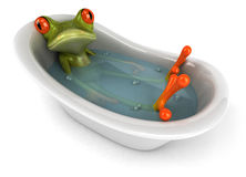 Frog in a bath. Cute little frog looking at the camera, 3D generated Stock Image