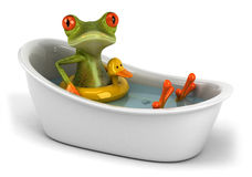 Frog in a bath Royalty Free Stock Image