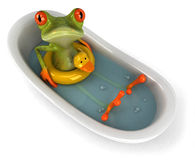 Frog in a bath. Cute little frog looking at the camera, 3D generated Stock Photography